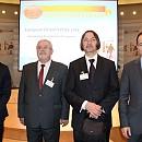 От ляво на дясно: Момчил Неков и Пламен Петров, заедно с другия български лауреат Христо Христов и номиниралият го евродепутат Андрей Ковачев